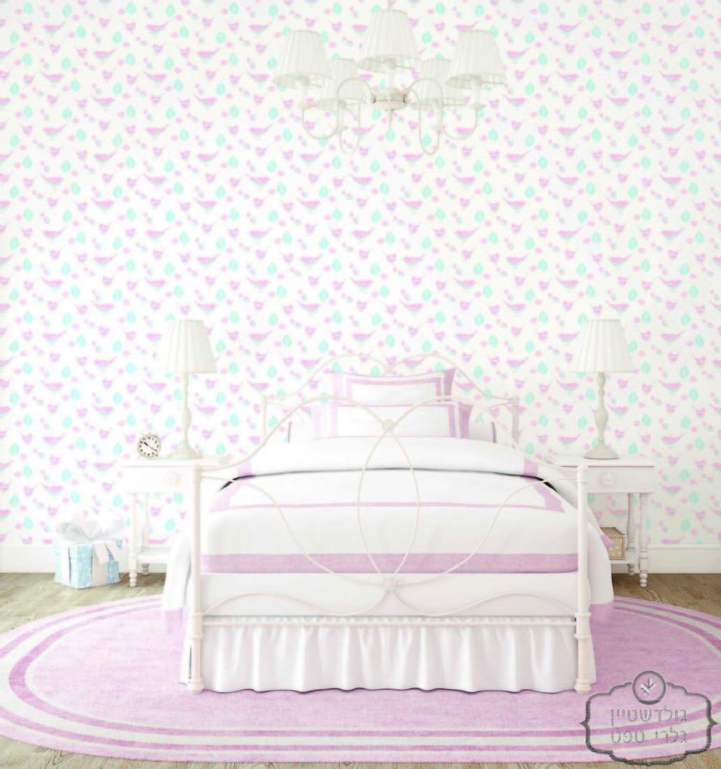 Interior of clean pink and white bedroom with heart on wall